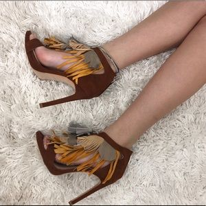Burgundy,yellow,grey,and orange fringed booties